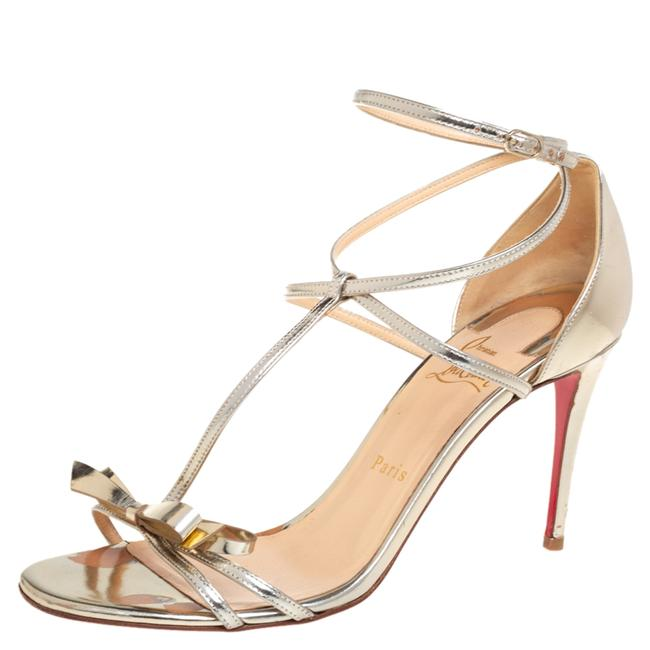 Item - Metallic Gold Patent Leather Ankle Strap Size 40 Sandals