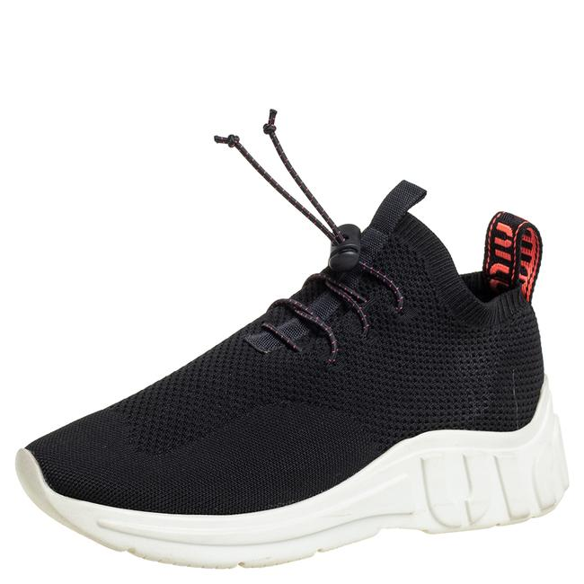 Item - Black Knit Fabric Low Top Sneakers Size 37 Athletic