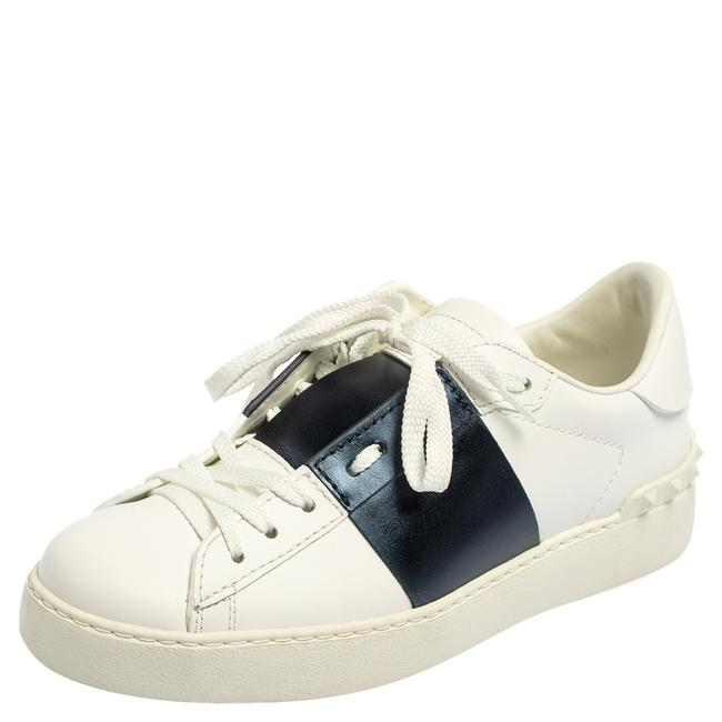 Item - White Blue Leather Low Top Sneakers Size 36 Athletic