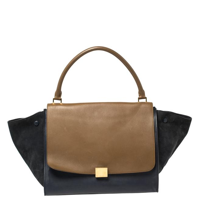 Item - Trapeze Tri Color Leather and Suede Large Bag Wristlet