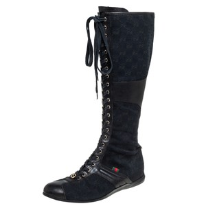 Gucci Black Gg Canvas and Leather Knee Length Size 38 Boots/Booties