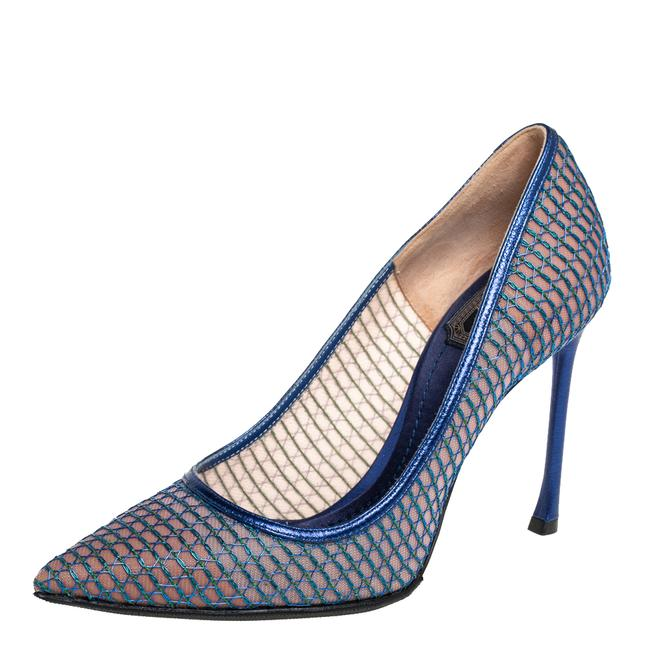 Item - Blue Mesh and Leather Pointed Size 36 Pumps