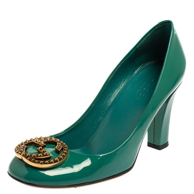 Item - Teal Green Patent Leather Gg Interlocking Size 35.5 Pumps