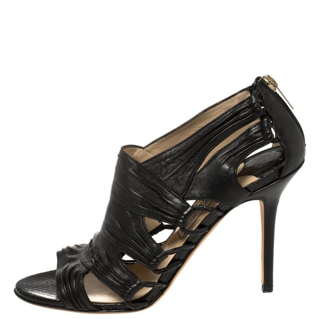 Jimmy Choo Black Leather Cutout Open Size 39.5 Boots/Booties Jimmy Choo Black Leather Cutout Open Size 39.5 Boots/Booties Image 2