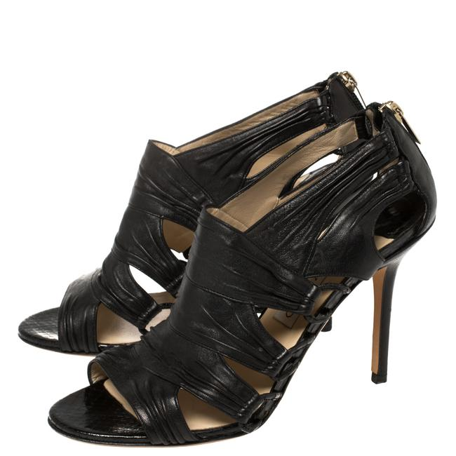Jimmy Choo Black Leather Cutout Open Size 39.5 Boots/Booties Jimmy Choo Black Leather Cutout Open Size 39.5 Boots/Booties Image 4