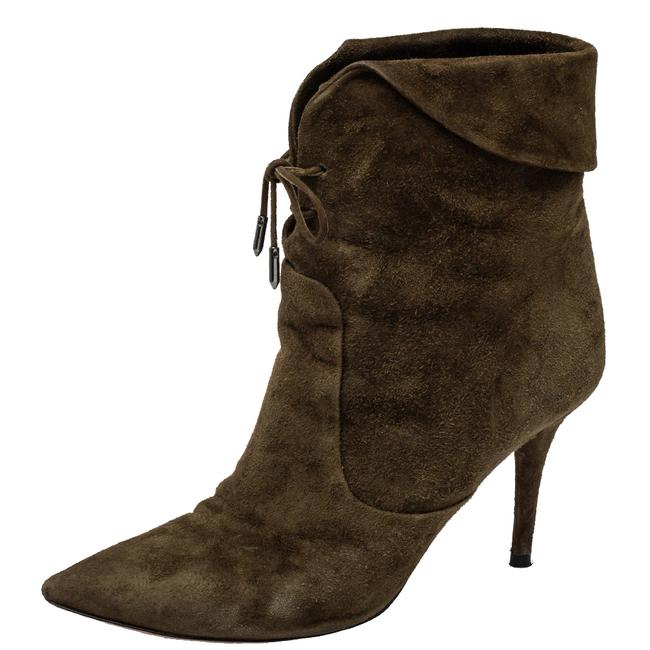 Item - Tribeca Brown Olive Green Suede Ankle Size 39 Boots/Booties