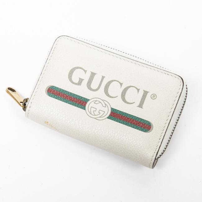 Item - Men's Zip Coin Purse In Ivory/Green/Red Calf Leather Wallet