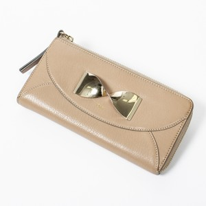 Chloé Zip Around Beige In Small Grained Leather Wallet