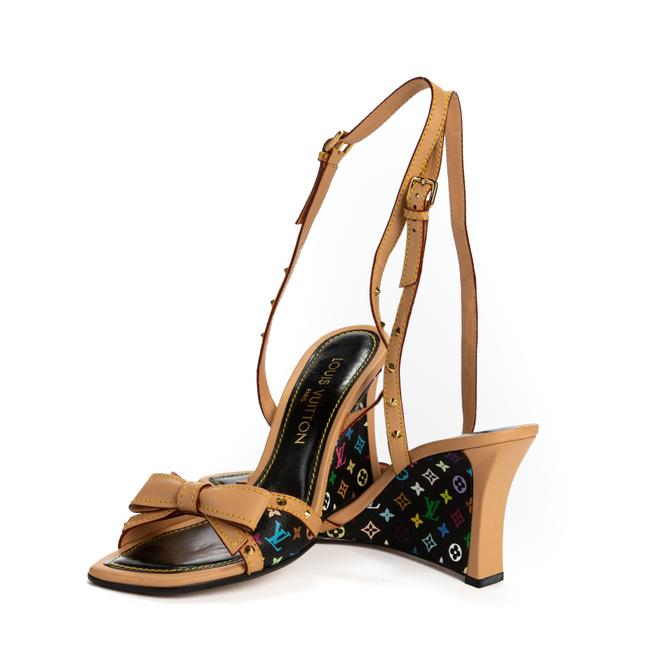 Item - Multicolour Bow Wedges 37.5 In Black Coated Canvas Formal
