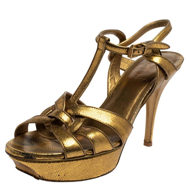 Item - Tribute Gold Leather Size 39 Sandals