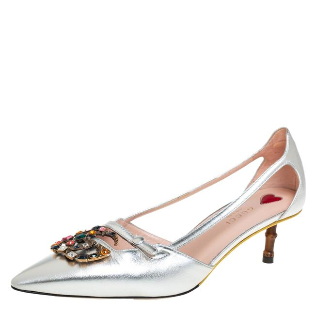 Item - Silver Leather Gg Crystal Bamboo Size 39 Pumps