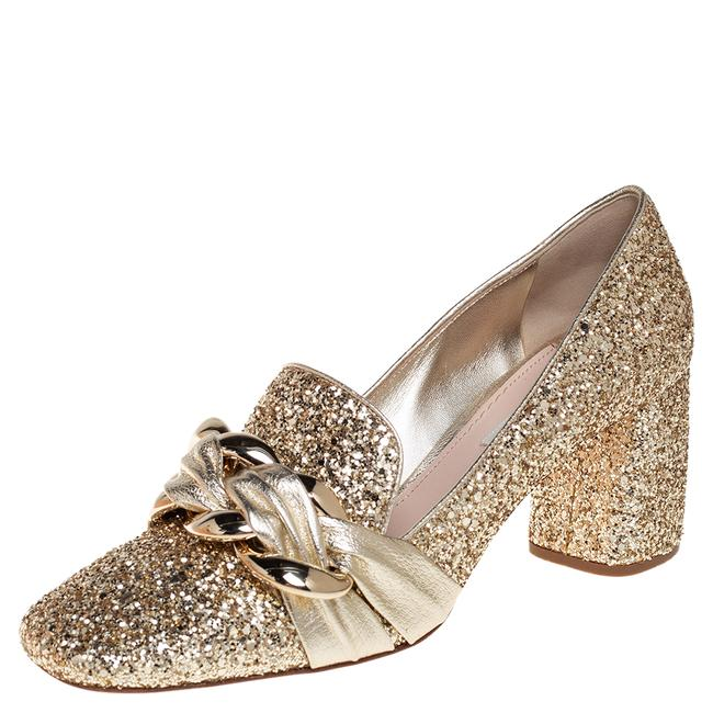 Item - Gold Glitter and Leather Chain Embellished Block Size 40 Pumps