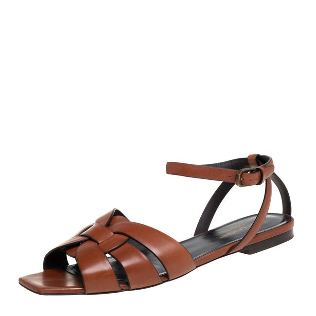 Item - Tribute Brown Leather Ankle Strap Size 38.5 Flats