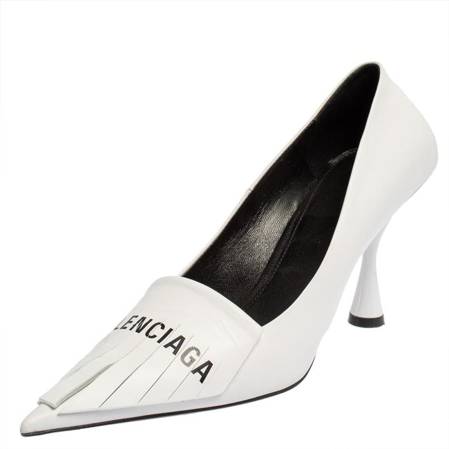 Item - White Leather Knife Fringes Pointed Size 40 Pumps