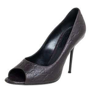 Gucci Brown Guccissima Leather Peep Size 39 Pumps