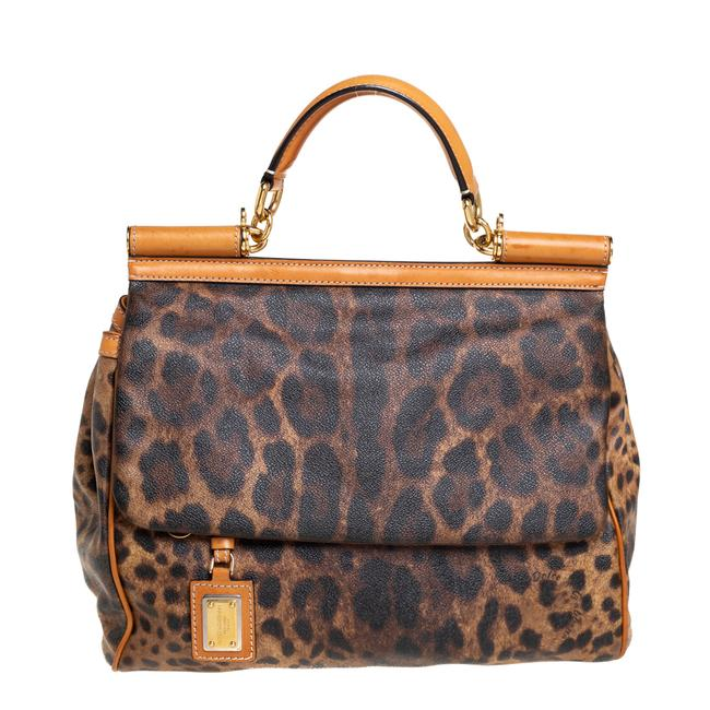 Item - Top Handle Bag Dolce & Gabbana Brown/Tan Leopard Print Coated Canvas and Leather Large Miss Sicily Wristlet