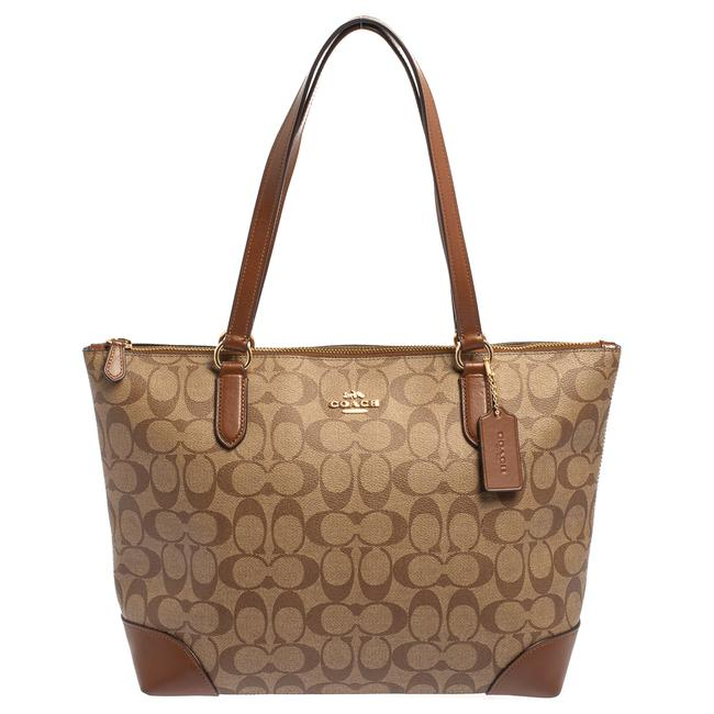 Item - Beige/Brown Signature Coated Canvas and Leather Top Zip Tote