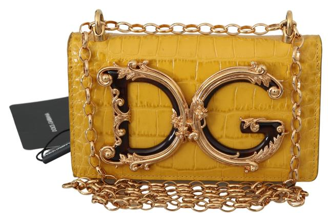 Item - Dolce & Gabbana Yellow Leather Shoulder Logo Iphone X Cover Case Bag Clutch