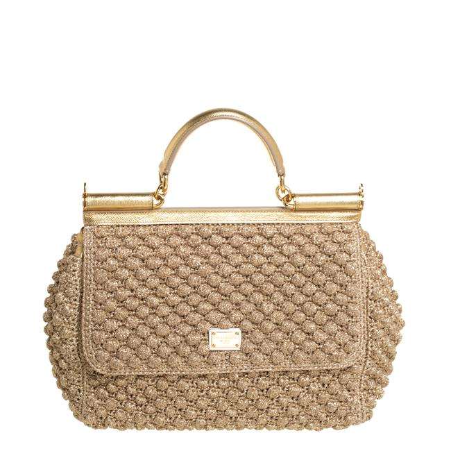 Item - Top Handle Bag Dolce & Gabbana Gold Woven Raffia and Leather Large Miss Sicily Wristlet