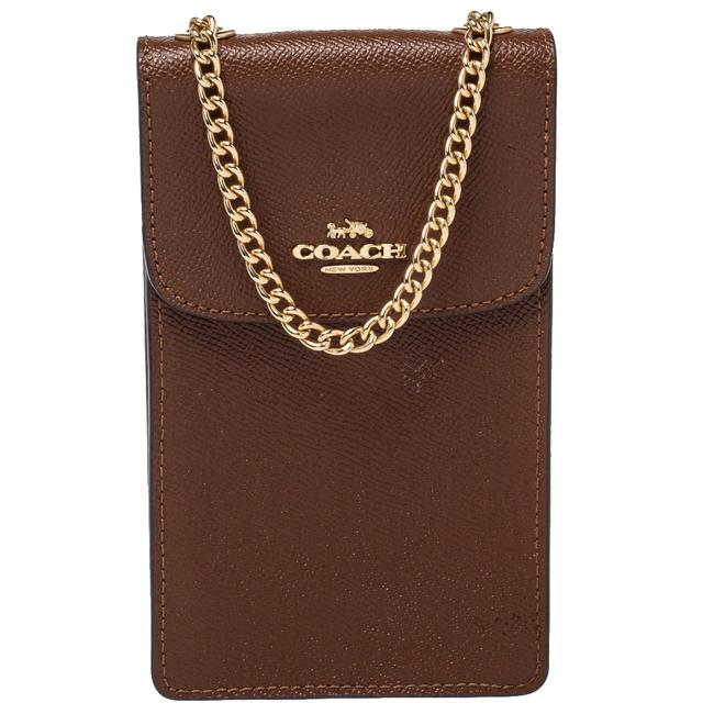 Item - Crossbody Brown Saffiano Leather North/South Phone Bag Wallet