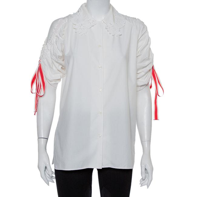 Item - White Embroidered Cotton Drawstring Detail Button Front Shirt S Blouse