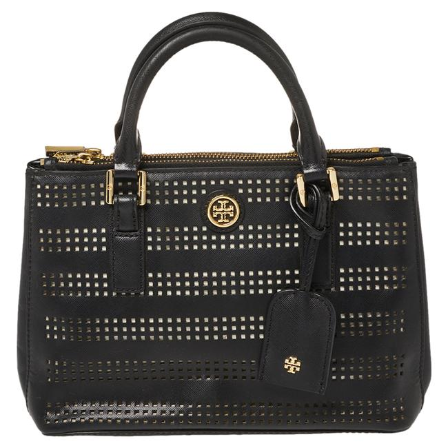 Item - Robinson Black Perforated Leather Small Double Zip Tote