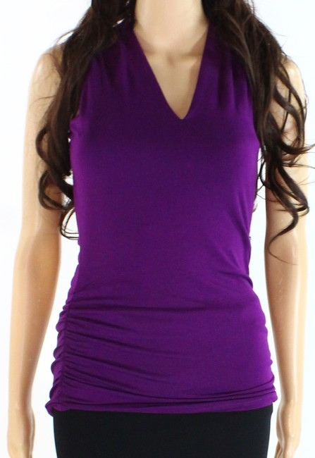 Item - Women's Purple Size Small S Ruched-sides V-neck Sleeveless Blouse
