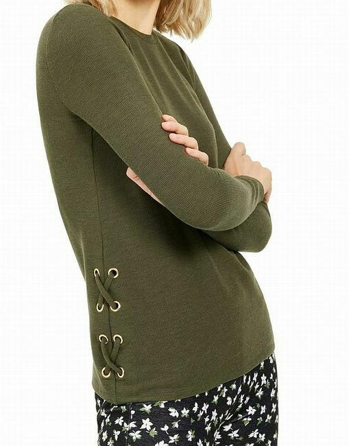 Item - Women's Sweater Olive Green Size Medium M Lace Up Blouse