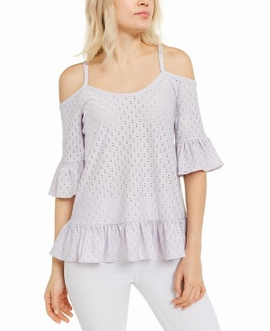 Item - Women's Knit Top Purple Size Small S Eyelet Cold Blouse