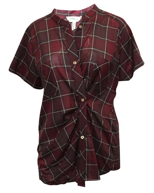 Item - Burgundy Checked Print -pre Owned Tee Shirt