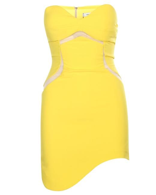 Item - Yellow Bustier Mini -pre Owned Condition Excellent Formal Dress