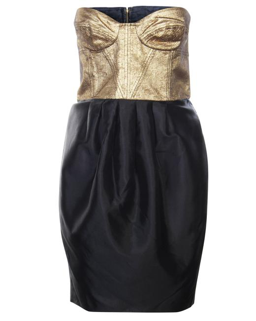 Item - Black Gold Bustier -pre Owned Condition Formal Dress