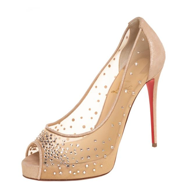 Item - Beige Crystal Embellished Mesh and Suede Very Strass Peep Size 38.5 Pumps