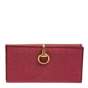 Gucci Horsebit Fuchsia Gg Canvas and Leather Clasp Continental Wallet