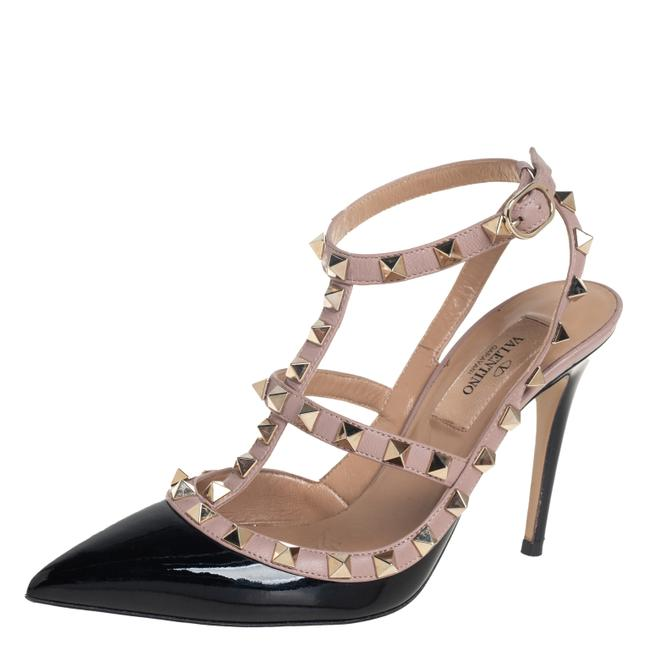 Item - Black/Beige Patent Leather and Leather Rockstud Ankle Strap Size 35.5 Sandals