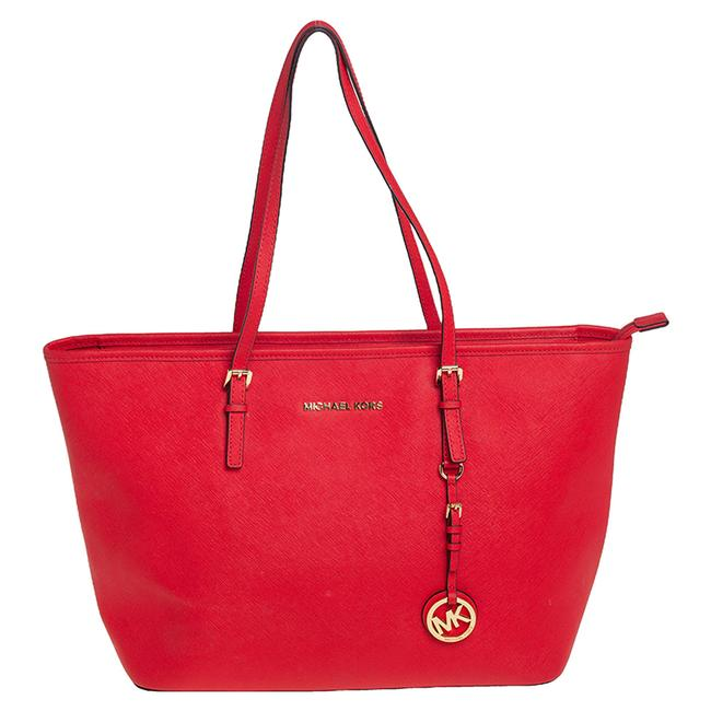 Item - Red Leather Large Jet Set Travel Tote