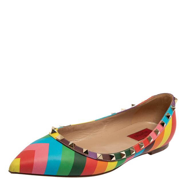 Item - Multicolor Leather Rockstud Pointed Size 39.5 Flats