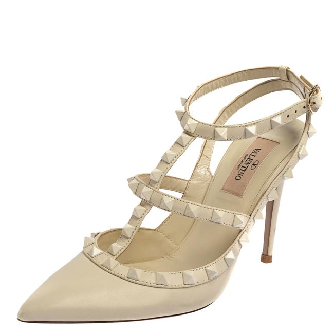 Item - Off White Leather Rockstud Pointed Toe Ankle Strap Size 37.5 Sandals