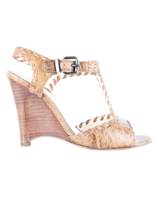 Item - Brown Leather Hand-stitched Wooden -pre Owned Condition Wedges