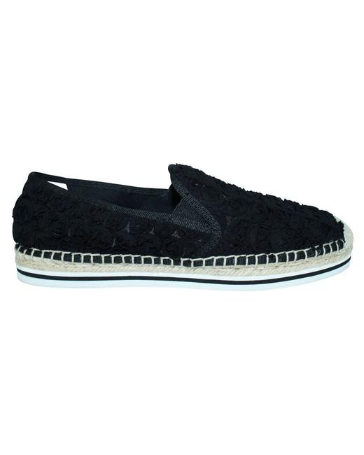Item - Black Fabric Espadrilles with Rubber Sole -pre Owned Flats