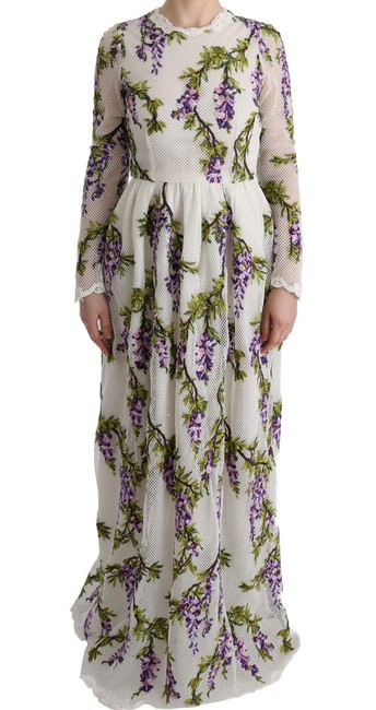 Item - Dolce & Gabbana White Embroidered Maxi Formal Dress
