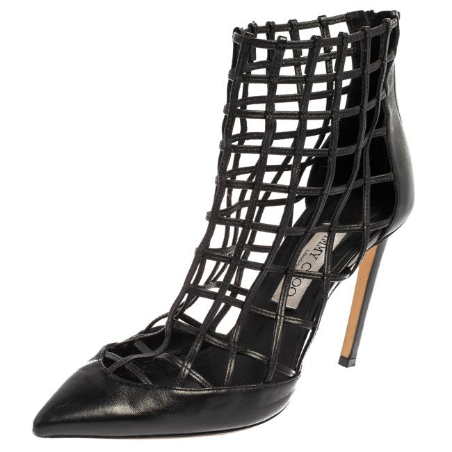 Item - Black Leather Sheldon Caged Size 39 Boots/Booties