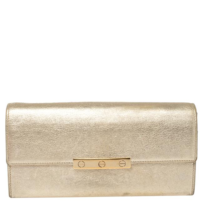 Item - Metallic Gold Leather Love Continental Wallet