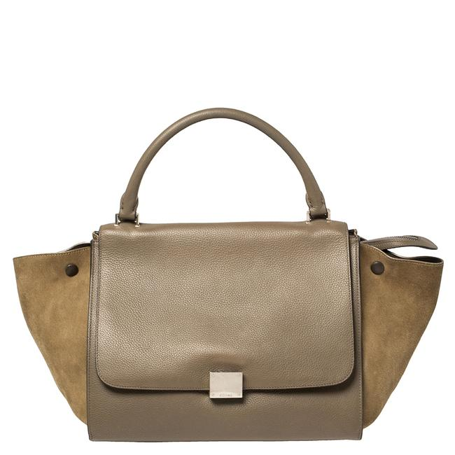 Item - Top Handle Bag Trapeze Khaki Green Leather and Suede Medium Wristlet