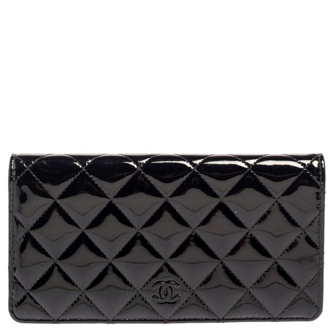 Item - Long Black Quilted Patent Leather Flap Wallet