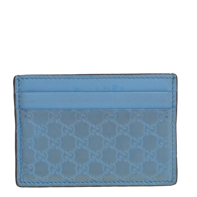Item - Blue Microguccissima Leather Card Holder Wallet