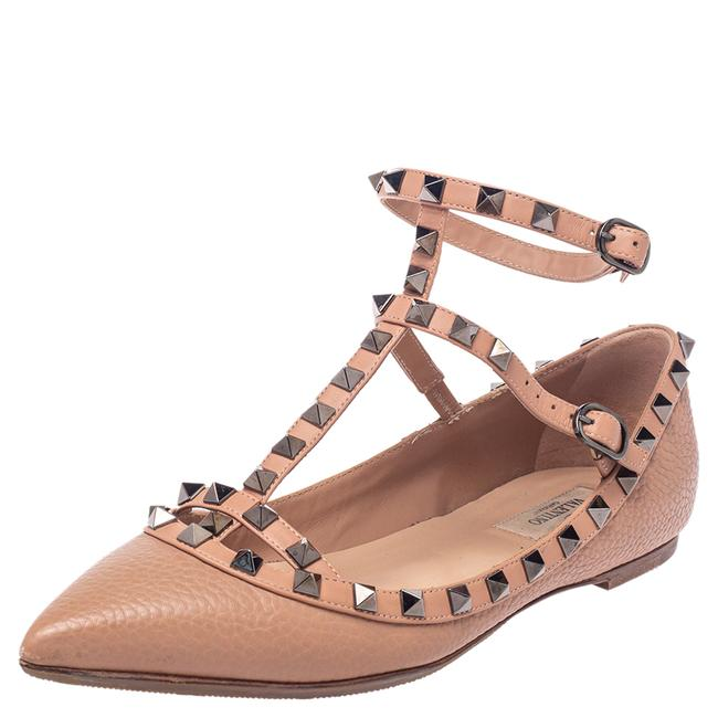 Item - Beige Leather Rockstud Ankle Strap Pointed Size 39 Flats