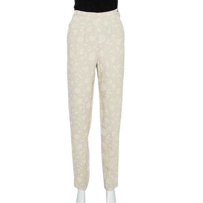 Item - XS Cream Floral Jacquard Tapered Vintage Trousers Pants