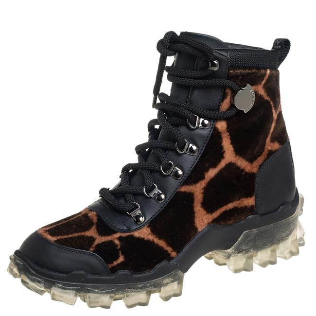 Item - Black Leopard Print Velvet and Leather Helis Size 37 Boots/Booties
