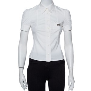Gucci White Cotton Paneled Puff Sleeve Detail Fitted Shirt S Blouse